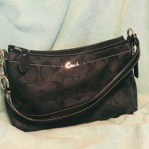 Coach black signature print mini bag